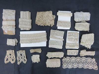 Lot ANTIQUE Hand Crochet LACE TRIM 25+ Long Pieces Wide Pieces ECRU/IVORY French