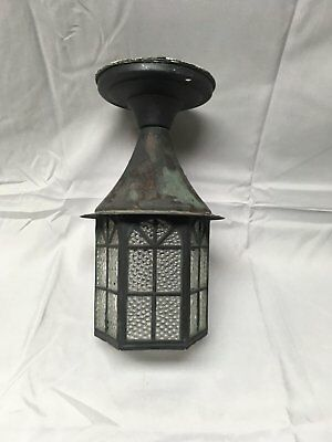 Vtg Arts Crafts Brass Porch Ceiling Old Cabin Light Fixture Arch Glass 606-17E