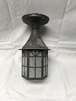 Vtg Arts Crafts  Copper  Porch Sconce Old Cabin Light Fixture Arch Glass 316-17E
