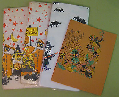 Early 1940s Halloween Table Cloths-- Bundle of 4