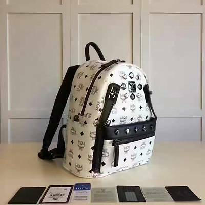MCM DUAL STARK small backpack--white/black