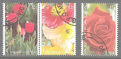 Australia 1994 Thinking of you LOVE Canceled to order  set 3 stamps,flowers,rose