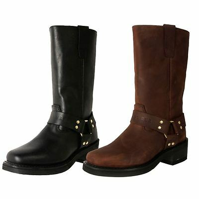 """Johnny Reb Men's Extra Wide Leather Heavy Duty Long 12"""" Motorcycle Boots Cheap"""