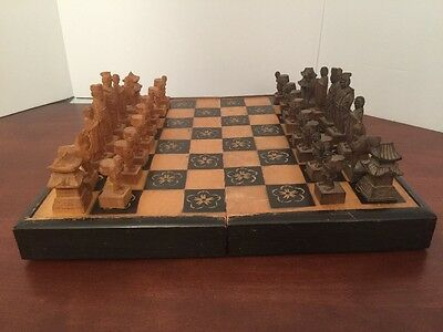 JAPANESE HandCarved Wood Chess Set Board, Japan 1952 Vintage Used