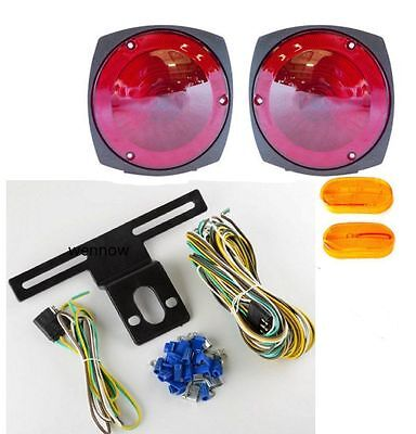 New$CL$ 12 V Towing TRAILER TAIL LIGHT BRAKE TURN SIGNAL KIT w/ Wiring Harness