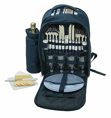 Avanti 4 Person Picnic Backpack With Cooler Compartment Wine Holder Cutlery