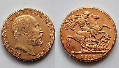1910 24k GOLD PLATED King Edward VII Full Sovereign United Kingdom - COPY COIN
