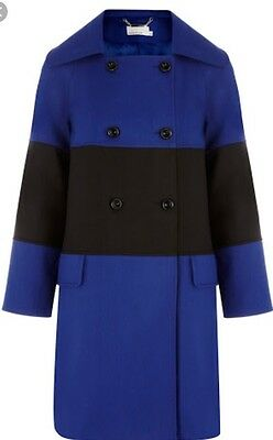 Karen Millen Coat Blue Black Cotton Uk 8