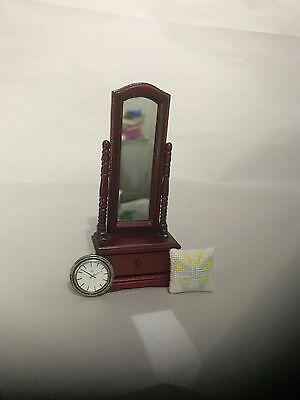 1:12 Scale Dolls House Furniture Dressing Mirror, Cushion, Wall Clock