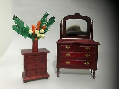 1:12 Scale Dolls House Furniture Dressing Table, Side Table & Flowers