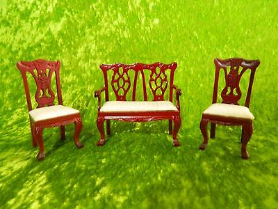 1:12 Scale Dolls House Furniture 2 Seater Patterned Back Chair & 2 Single Chairs