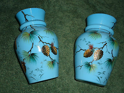 Antique English Opaline Bristol Pair of Glass vases 1880s