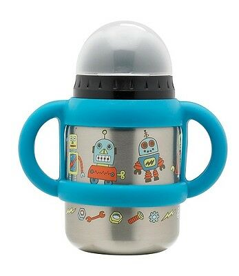 Sugarbooger Robot Flip & Sip Stainless Steel Sippy Cup 12Oz Silicone Handle New