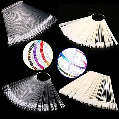 50pcs False Display Nail Art Fan Wheel Polish Practice Tip Sticks Nail Art D#WM