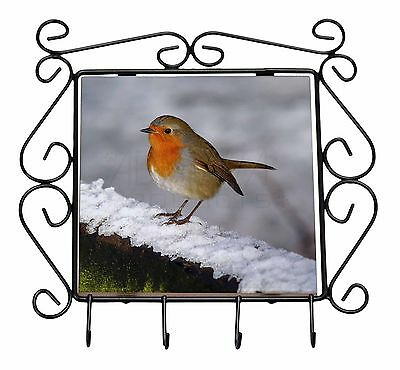 Robin on Snow Wall Wrought Iron Key Holder Hooks Christmas Gift, AB-R15KH