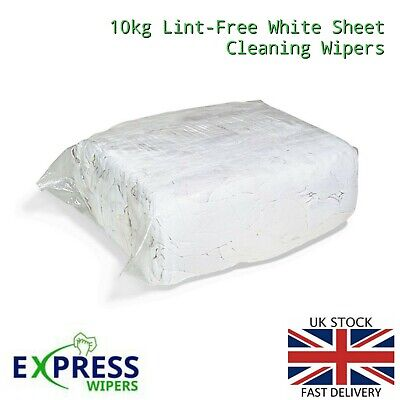 10 Kg Bag Of 100% Cotton Sheet Lint Free Cleaning Rags / Wipers