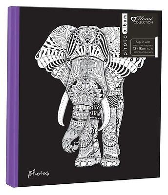 Zen Elephant 5'' x 7'' -13x18cm Slipin Photo Album with Memo Area - 104 PHOTOS