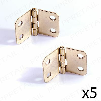 5 PAIRS MINI BRASS HINGES Toy Box/Trunk/Chest/Cabinet Small Dolls House Door