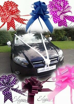 50mm Wedding Car Decoration Kit Large Pull Bows 5,3 or 1 &/or 10m Florist Ribbon