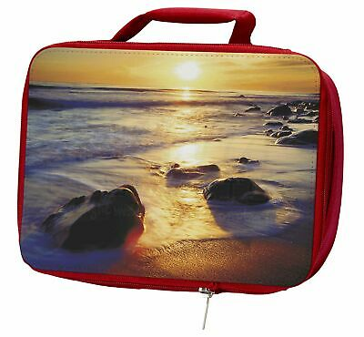 Secluded Sunset Beach Insulated Red Lunch Box, SUN-1LBR
