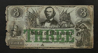 1862   State of MISSOURI $3 Dollars Obsolete Banknote, Civil War! VF net AG (d)