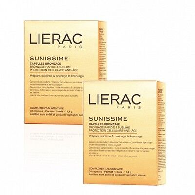 Lierac Sunissime 2 x 30 Tanning Capsules ANTI AGE QUICK TAN for 2 month supply
