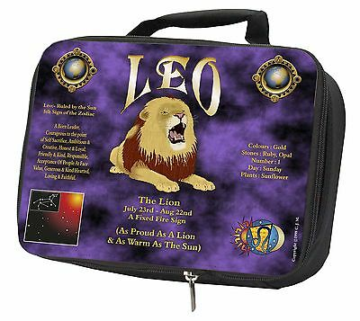 Leo Astrology Star Sign Birthday Gift Black Insulated Lunch Box, ZOD-5LBB