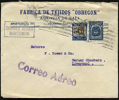 Colombia 1934 Cali To UK Airmail Cover #C40586