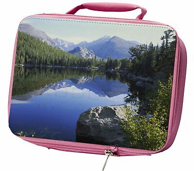 Tranquil Lake Insulated Pink School Lunch Box Bag, W-2LBP