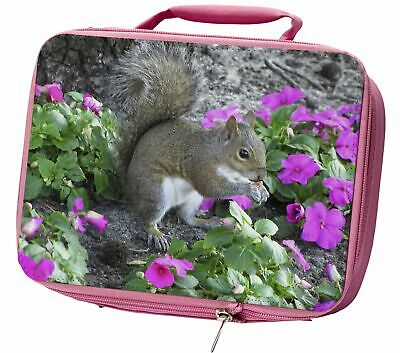 Squirrel by Flowers Insulated Pink School Lunch Box Bag, AS-1LBP