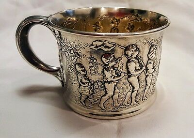 "GORHAM STERLING CHILDS' BABY CUP MUG ""FOLLOW THE LEADER"". ca1900 BEAUTIFUL RARE"