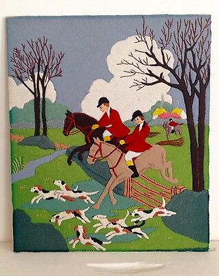 Vintage Hand Crafted Stitched Felt Work Tapestry picture 1950s