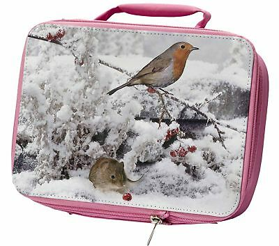 Snow Mouse and Robin Print Insulated Pink School Lunch Box Bag, AMO-5LBP