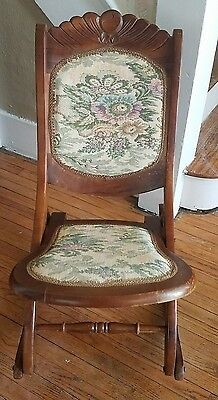 Antique Vintage Wooden Folding Rocking Sewing Chair Floral Pattern