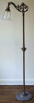 Wonderful Antique Brass and Iron Floor Lamp - Etched Shade -  VGC - BEAUTIFUL