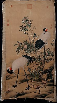 Exquisite Long Old Paper Chinese Hand Painting Cranes Marked LangShiNing KK247