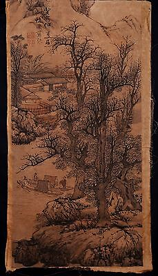Awesome Long Old Paper Chinese Hand Painting Landscape Marks Collection KK025