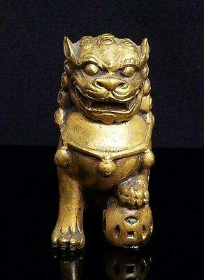 Antique Chinese Gilded Bronze Foo Dog ~ Lion