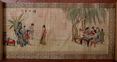 Beautiful Chinese Characters Old Scroll Hand Painting Marked ZhaoZiAng KK125