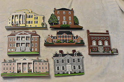 Lot Of 7 Shelia's Collectibles Wood Houses! 6 Signed By the Artist! 2 COA's!