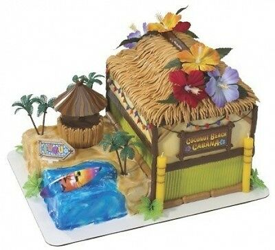 Coconut Beach Cabana Tropical Luau Theme Cake Decorating Kit. Shipping Included