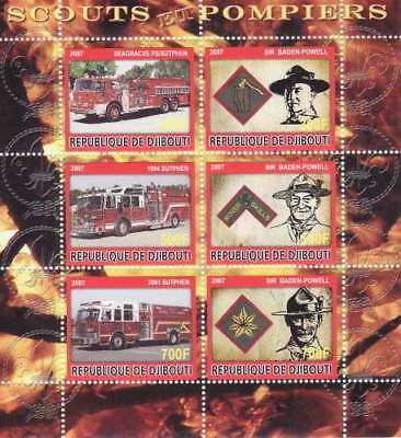 Fire Engines & Scouting on Stamps - 6 Stamp  Sheet SV0086