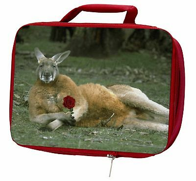 Kangaroo with Red Rose Insulated Red School Lunch Box/Picnic Bag, AK-1RLBR