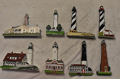 Lot Of 8 Shelia's Collectibles! 5 Signed By the Artist! Lighthouses! GUC!