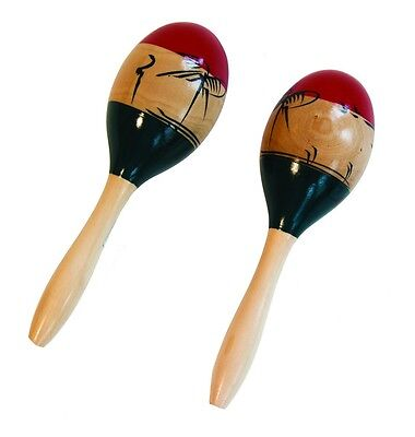 Large WOODEN MEXICAN MARACAS Full Size Pair Hand Painted Wood Shaker Percussion