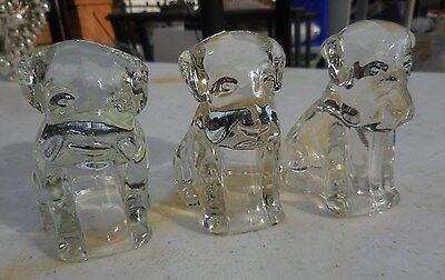 Three (3) Vintage Clear Glass Candy Container SITTING Puppy DOG