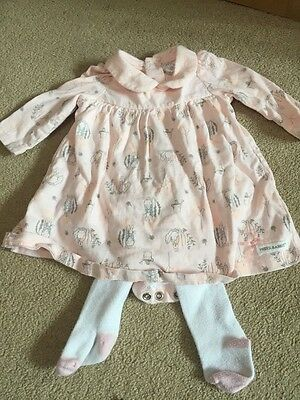 Baby girls pink Peter Rabbit dress with tights - up to 1 month / newborn