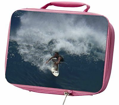 Surf Board Surfing - Water Sports Insulated Pink School Lunch Box Bag, SPO-S3LBP