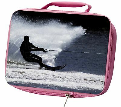 Water Skiing Sport Insulated Pink School Lunch Box Bag, SPO-W1LBP