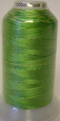 Embroidery Machine Thread Rayon 1000 metre spools GREEN A921.0215 Variegated